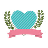 Heart love with flowers card icon Stock Photo