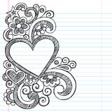 Heart Love Frame Sketchy Doodle Vector Design. Valentines Day Heart Frame Border PIcture Frame Back to School Groovy Sketchy Notebook Doodles- Vector Royalty Free Stock Photography