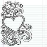 Heart Love Frame Sketchy Doodle Vector Design. Valentines Day Heart Frame Border PIcture Frame Back to School Groovy Sketchy Notebook Doodles- Vector royalty free illustration