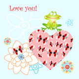 The heart of love and funny frog Royalty Free Stock Images