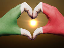 Heart and love gesture colored in italy flag Royalty Free Stock Photo