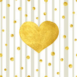 Heart Love Gold Watercolor Texture Paint Stain. Vector Greeting Card Stock Photo