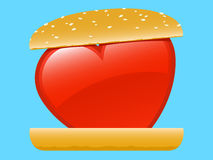 Heart love hamburger Royalty Free Stock Image