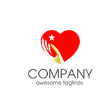 Heart love and hand symbol logo template Royalty Free Stock Photos