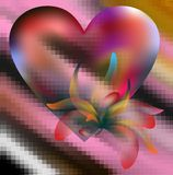 Heart, love and ice. Colorful heart and plant with transparencies on an icy background in red and violet hues Royalty Free Stock Photo