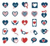 Heart love icon set Royalty Free Stock Photos