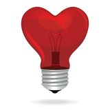 Heart love light bulb vector isolated object. Royalty Free Stock Images