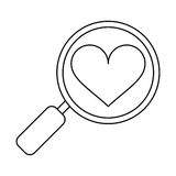 Heart love loupe search icon outline Stock Photography