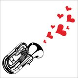 Heart love music trumpet playing a song for valent Stock Photography