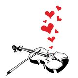 Heart love music violin playing a song Stock Image