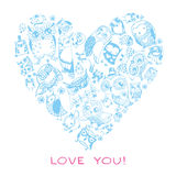 Heart love pattern with Owls. Stock Photography