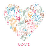 Heart love pattern with Owls. Stock Photo