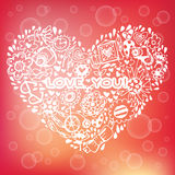 Heart love pattern. Template for design romantic greeting card Stock Photos