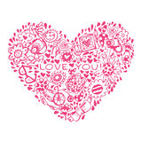 Heart Love pattern. Template for design romantic greeting card Stock Photography