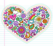 Heart Love Psychedelic Doodles Vector Set royalty free illustration