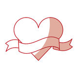 Heart love with ribbon romantic icon Stock Photography