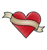 Heart love with ribbon romantic icon Stock Images