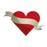 Heart love with ribbon romantic icon Royalty Free Stock Photo