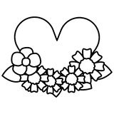 Heart love romantic with flowers royalty free illustration