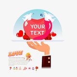 Heart with love for serving. hand holding tray of love heart. we Royalty Free Stock Images
