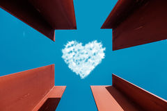 Heart Love Shaped Cloud Bottom View Stock Photography
