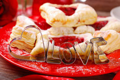 Heart and love shaped cookie cutters for valentines party Royalty Free Stock Photography