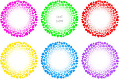 Heart Love Sign Frame Valenitines Banner Ring Circle Icon Set Stock Photos