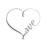 Heart and Love sign. Unique calligraphic vector tattoo love design Stock Photos