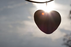 Heart love silhouette on sky and sunrise. Heart love silhouette on sky Stock Image