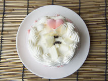 heart of love sweet cute vanilla cream cake Stock Image