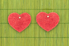 Heart and love symbol against bamboo sticks Stock Photo
