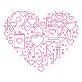 Heart with love symbols in line style. Love couple relationship dating wedding romantic amour concept theme. Unique. Valentine day round print. Elements, icons Stock Photography