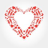 Heart with love symbols Royalty Free Stock Photography