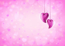 Heart love toy on blur pink heart bokeh for valentine Stock Photo