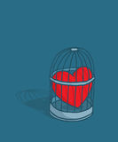 Heart or love trapped in cage royalty free illustration