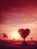 Heart love tree. Red landscape with heart love tree stock image