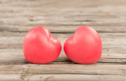Heart of love in Valentine's day on wooden Stock Photos