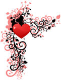 Heart love or Valentine's design. Corner  element Stock Images