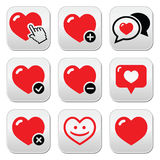 Heart, love vector icons set Royalty Free Stock Photo