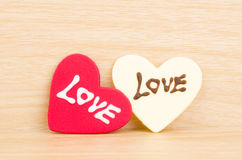 Heart with love. On wooden background,love in Valentine day Royalty Free Stock Photo