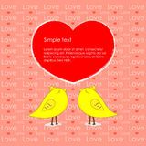 Heart of love and yellow chicken  background Stock Photos