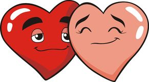 Heart Lovers. An illustration of two hearts in loved with each other stock illustration