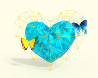 Heart in low poly style with blue and yellow butterflies. Abstract Heart in low poly style with pink light and blue butterflies on the white background for Royalty Free Stock Image