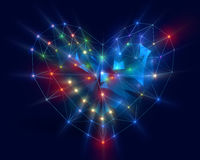 Heart in low poly style with corored light. Abstract Heart in low poly style with colored light on the dark blue background for Happy Valentine`s Day Stock Photo