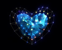 Heart in low poly style with corored light. Abstract Heart in low poly style with colored light on the dark blue background for Happy Valentine`s Day Royalty Free Stock Photography