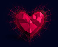 Heart in low poly style with pink light. Abstract Heart in low poly style with pink light on the dark blue background for Happy Valentine`s Day celebration. 3D Stock Photography