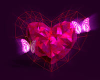 Heart in low poly style with pink light and butterflies. Abstract Heart in low poly style with pink light and pink butterflies on the dark violet background for Royalty Free Stock Photo