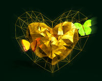 Heart in low poly style with yellow light and butterflies. Abstract Heart in low poly style with yellow light and pink butterflies on the dark green background Stock Photography