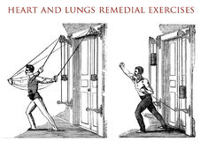 Heart and lungs remedial exercises, vintage illustration Royalty Free Stock Photo
