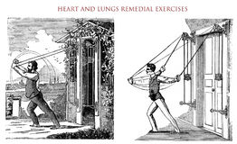 Heart and lungs remedial exercises,  vintage illustration Royalty Free Stock Images